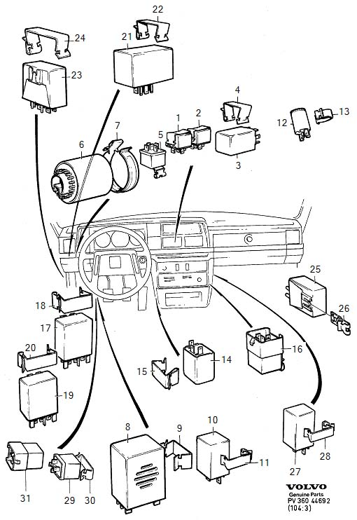 1992 Volvo 240 Relay Fuse Box Diagram